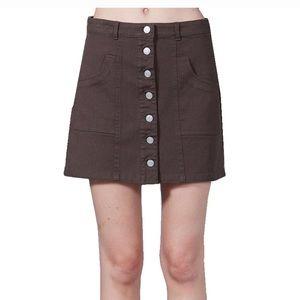 Peach love brown button skirt